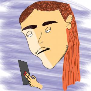 Drawing of Steve looking at his phone.